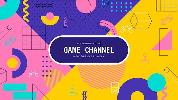 Arte do canal do youtube de jogos de design de memphis