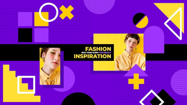 Arte do canal do youtube de moda geométrica Vetor grátis