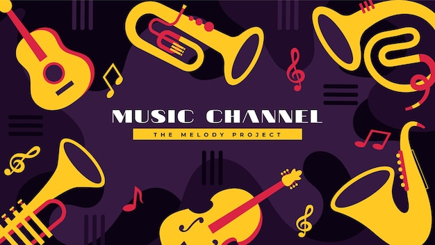 Arte do canal do youtube de música plana