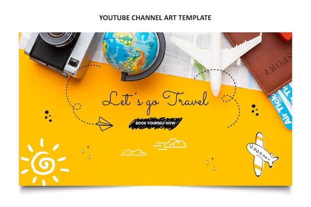 Arte do canal do youtube de viagem desenhada à mão