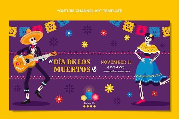 Arte do canal do youtube desenhada à mão com diâmetros planos planos