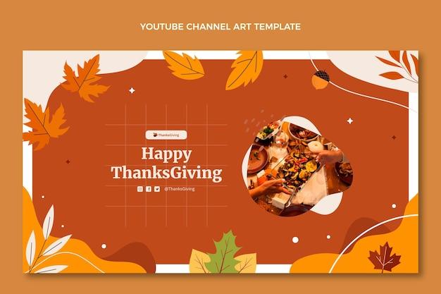 Arte do canal do youtube desenhada à mão e plana de ação de graças