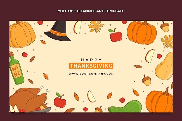Arte do canal do youtube desenhada à mão no dia de ação de graças