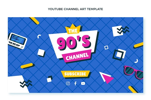 Arte do canal do youtube do aniversário dos anos 90 desenhada à mão