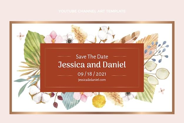 Arte do canal do youtube do casamento boho em aquarela