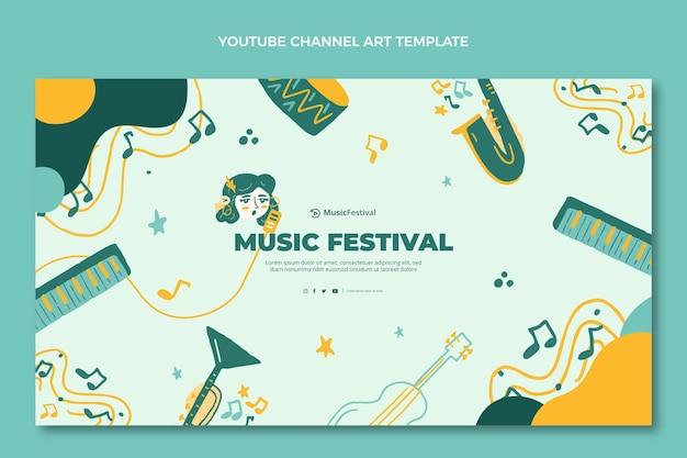 Arte do canal do youtube do festival de música colorida desenhada à mão