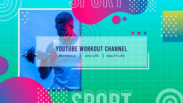 Arte do canal do youtube em gradiente esportivo