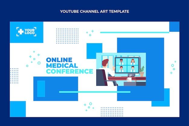 Arte do canal do youtube médico em design plano