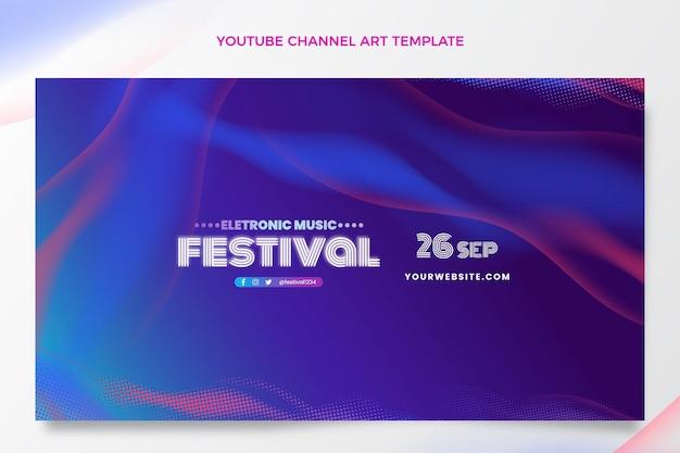 Arte do canal do youtube no festival de música em meio-tom gradiente