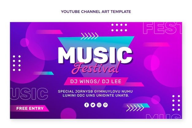 Arte do canal do youtube no festival de música gradiente