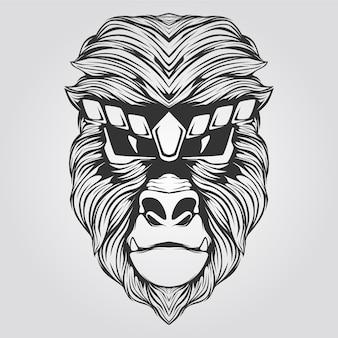 Arte do macaco linha arte em preto e branco