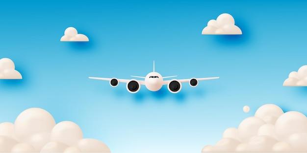 Arte do papel da vista aérea do avião.
