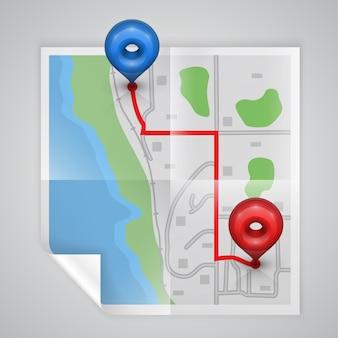Arte do ponto do mapa do papel da cidade. ilustrações vetoriais