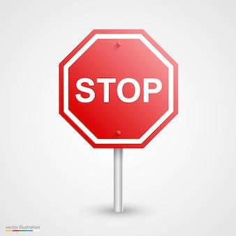 Arte do sinal de parada de estrada. ilustração vetorial