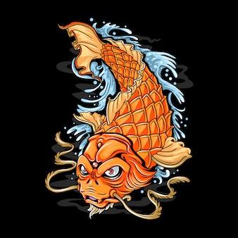 Arte do tatuagem do ouro dos peixes de koi