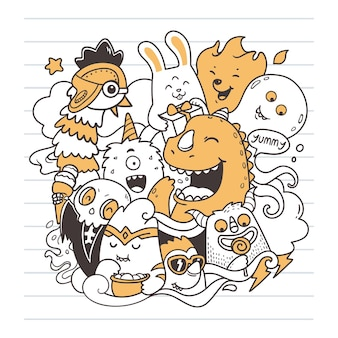 Arte doodle de festa monstro