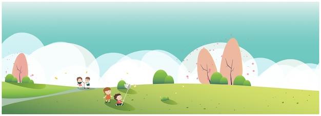 Arte e ilustração pessoas relaxando na natureza na primavera ou no horário de verão no parque. bandeira da primavera. família passeio ao parque ou piquenique. criança, borboleta e maçã flor.
