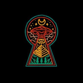 Arte egípcia de monoline do vintage da abducção do ufo