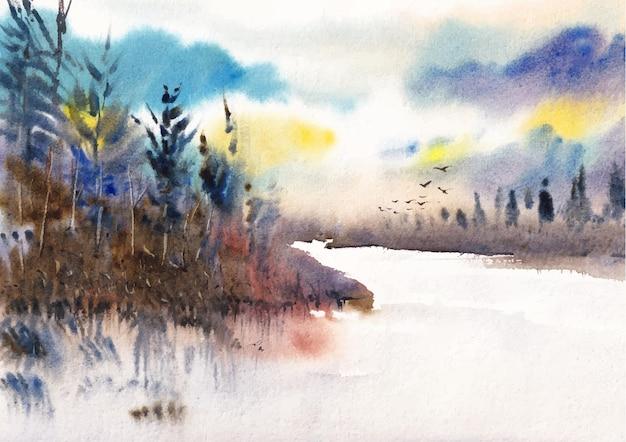 Arte em aquarela da natureza ao lado da montanha