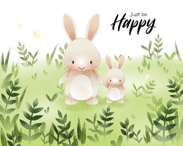 Arte em aquarela de coelho bonito dos desenhos animados no campo de grama