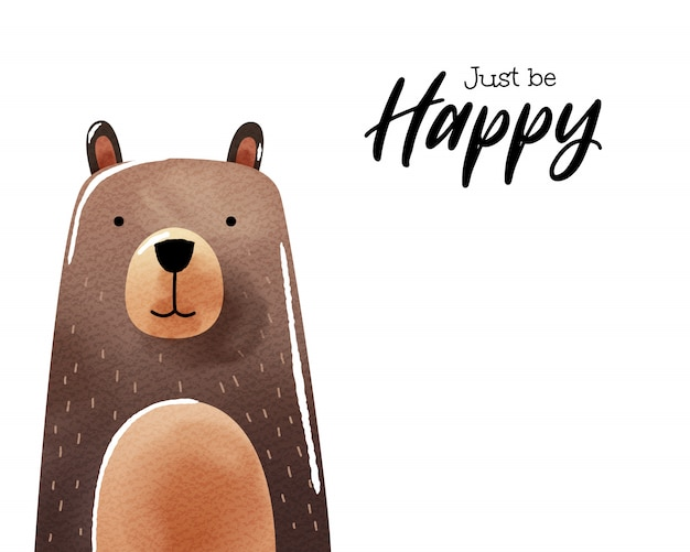 Arte em aquarela de urso dos desenhos animados