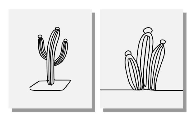 Arte em linha contínua de flor de cacto