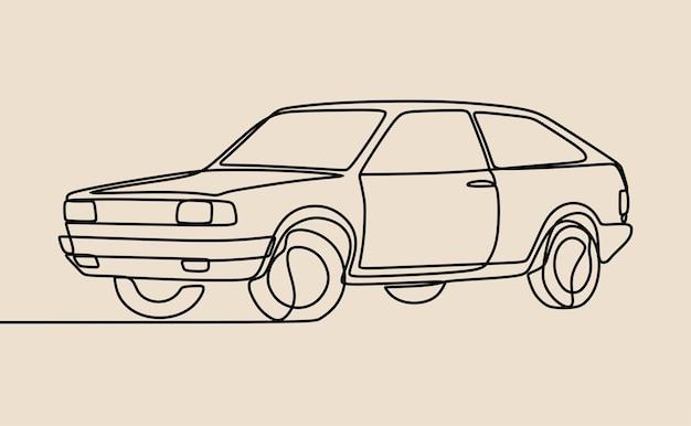Arte em linha contínua oneline de carros antigos clássicos