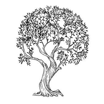 Arte em linha de árvore pintada à mão com tinta e caneta