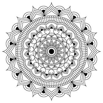 Arte em linha de design de mandala, arte tradicional de diwali rangoli, formas gráficas florais