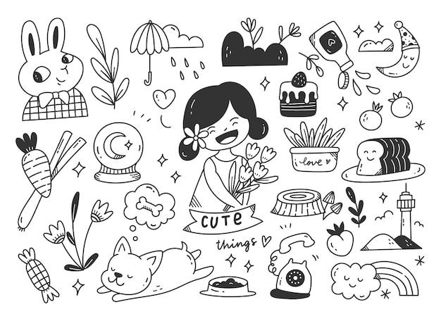 Arte em linha de doodle desenhado à mão fofa
