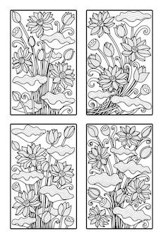 Arte em linha de flor de lótus, conjunto de ilustração, isolado