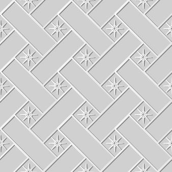 Arte em papel branco cruz verificação quadrada geometria estrela flor, decoração elegante de fundo padrão para cartão de banner da web