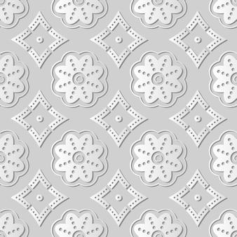 Arte em papel branco quadro redondo de flor de linha de pontos de curva, decoração elegante de fundo para cartão de banner da web