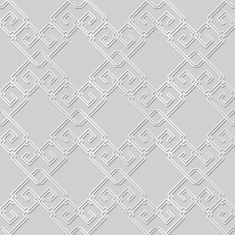 Arte em papel branco verifique a linha de corrente em espiral quadrada de moldura cruzada, fundo de padrão de decoração elegante para cartão de banner web