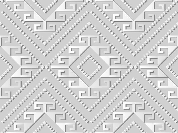 Arte em papel branco verifique a linha de pontos de moldura cruzada em espiral de diamante, fundo de padrão de decoração elegante para cartão de banner web