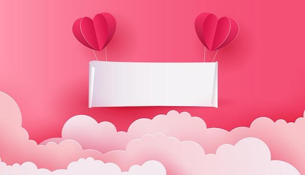Arte em papel da tabuleta pendurada no céu rosa e nuvem com modelo de balão de coração para texto