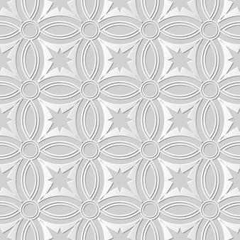 Arte em papel damasco 3d sem costura cross round star