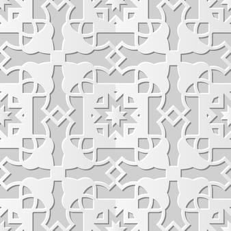 Arte em papel damasco 3d sem costura cross star geometria