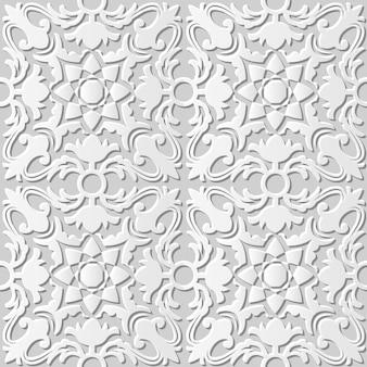 Arte em papel damasco 3d sem costura cruz caleidoscópio flor