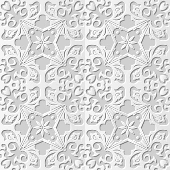 Arte em papel damasco 3d sem costura cruz espiral flor videira