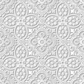 Arte em papel damasco 3d sem costura curva cruzada flor renda
