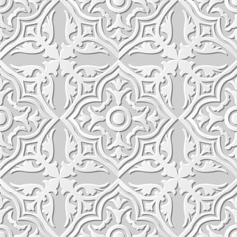 Arte em papel damasco 3d sem costura curve cross round