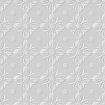Arte em papel damasco 3d sem costura em leque flor redonda