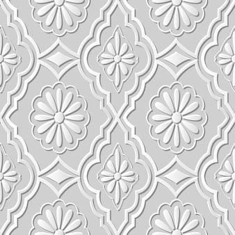 Arte em papel damasco 3d sem costura flor redonda margarida