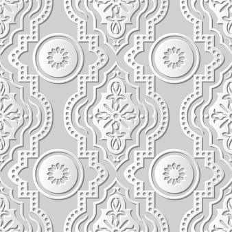 Arte em papel damasco 3d sem costura, flor redonda pontilhada