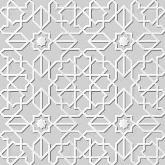 Arte em papel damasco 3d sem costura islam star cross geometria
