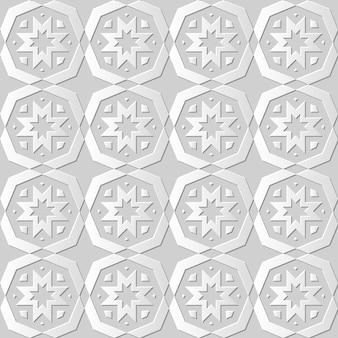 Arte em papel damasco 3d sem costura polygo cross flower