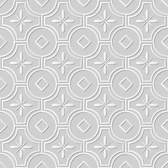 Arte em papel damasco 3d sem costura redonda cruz flor