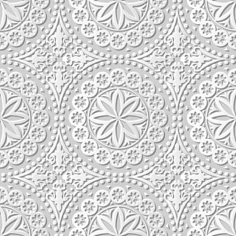 Arte em papel damasco 3d sem costura redonda ponto flor laço