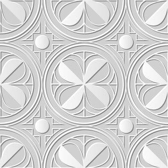 Arte em papel damasco 3d sem costura redonda quadrada